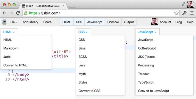 Processors on JS Bin