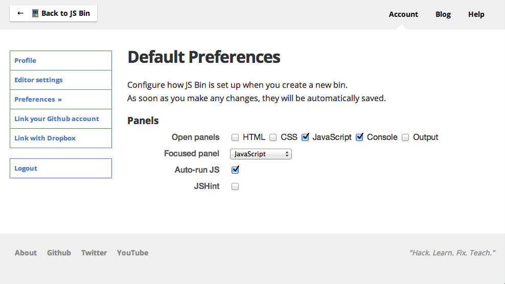 Preferences page